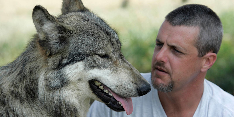 Kevin with wolf